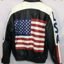 US Flag Black And White With Blue Stripes Leather Jacket