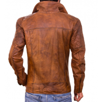Diamond Racer Waxed Brown Men's Leather Jacket