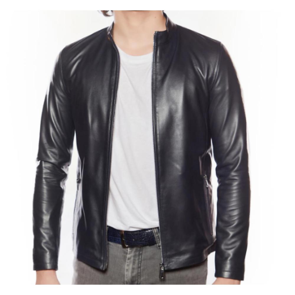 Genuine Leather Sport Men Black Jacket