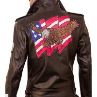 American Patriot Black Biker Men's Leather Jacket
