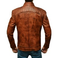 Distressed Brown Fit Body Leather Jacket