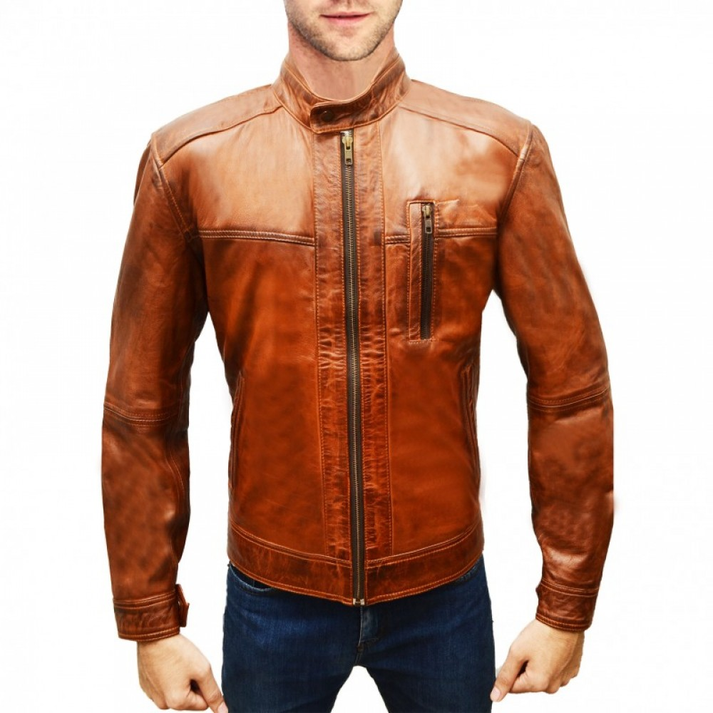 Distressed Brown Leather Jacket For Man