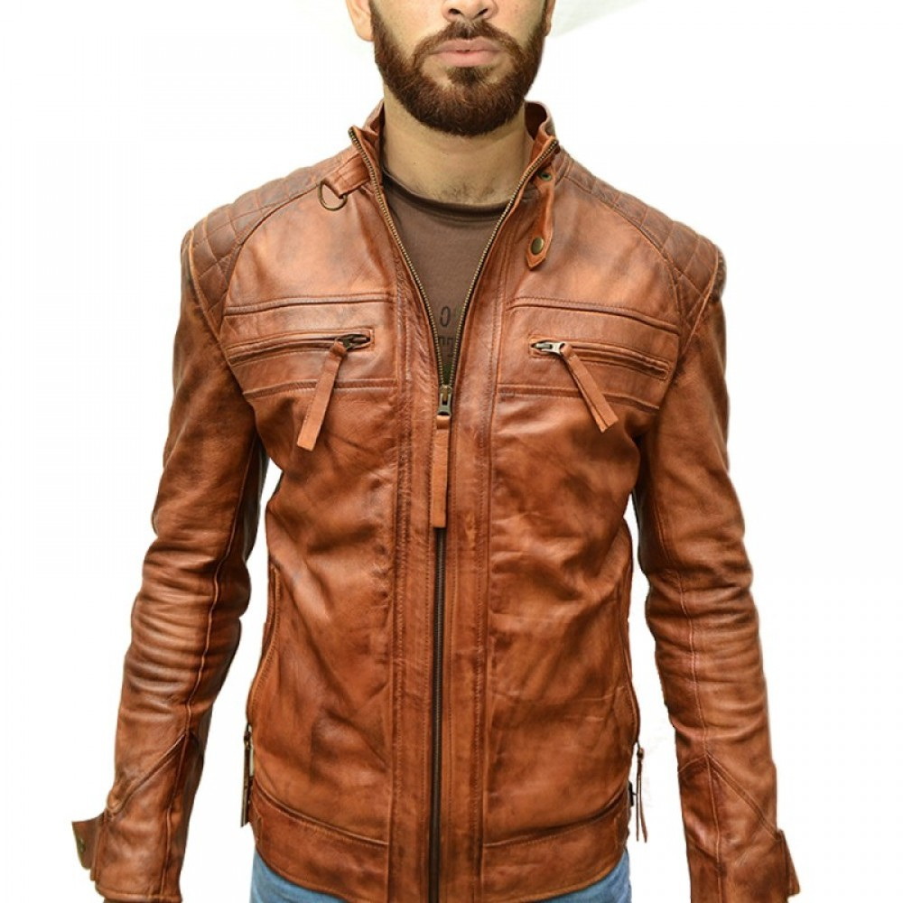 Distressed Brown Real Leather Jacket