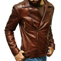 Distressed Brown Stylish Leather Jacket For Man