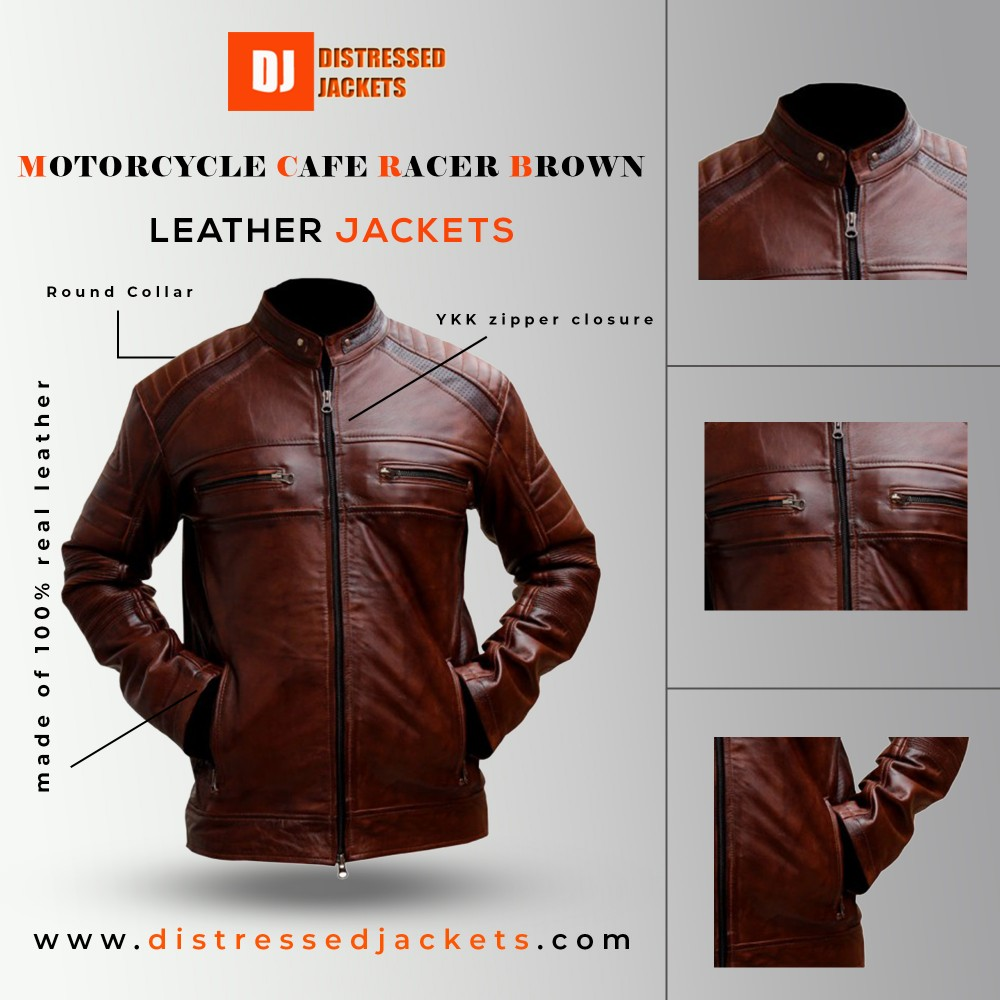 Motorcycle Cafe Racer Brown Distressed Leather Jacket | Distressed jackets