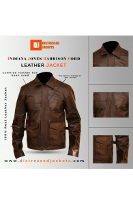 Indiana Jones Harrison Ford Brown Leather Jacket | Distressed Leather Jacket