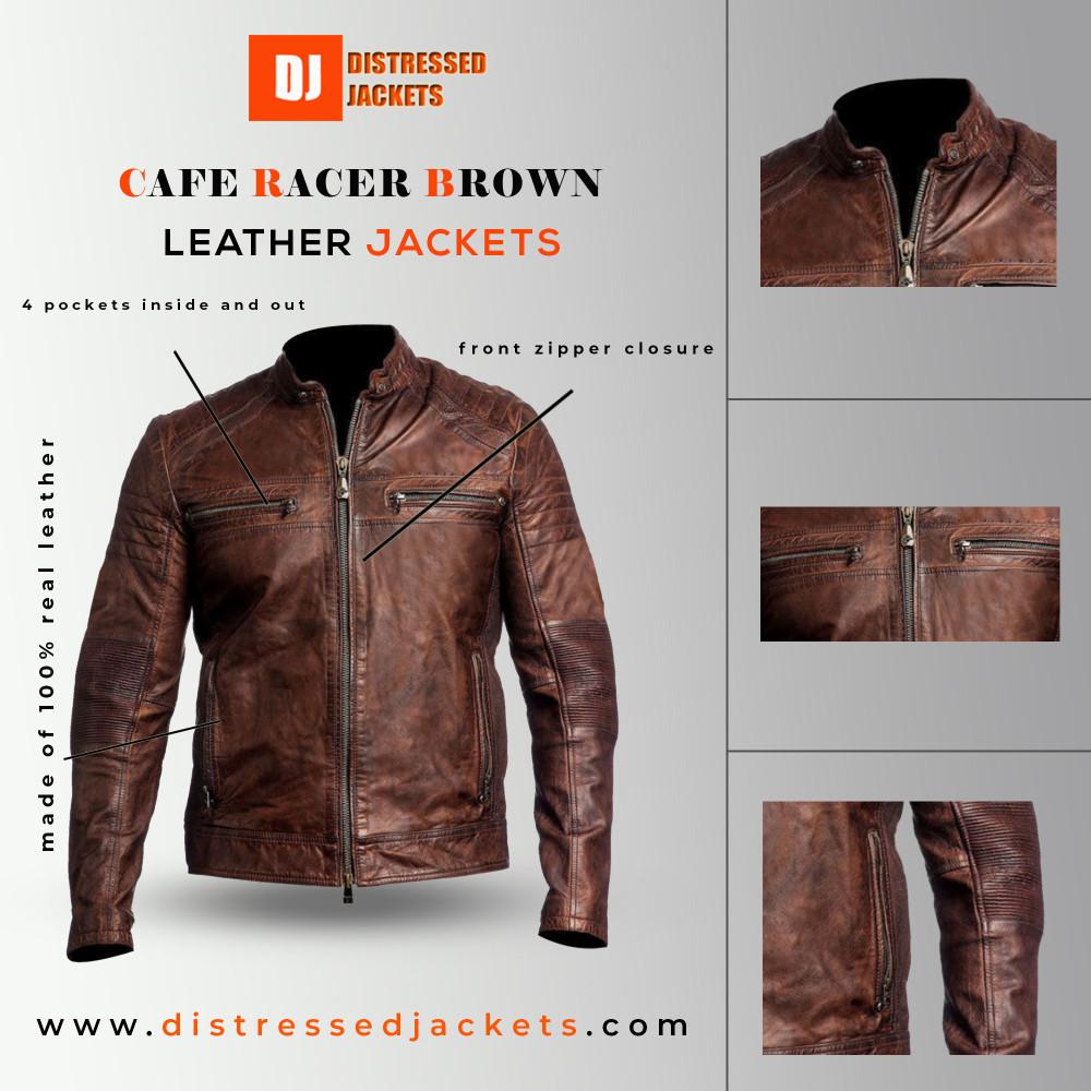 Cafe Racer Brown Distressed Leather Jacket | Distressed jacket