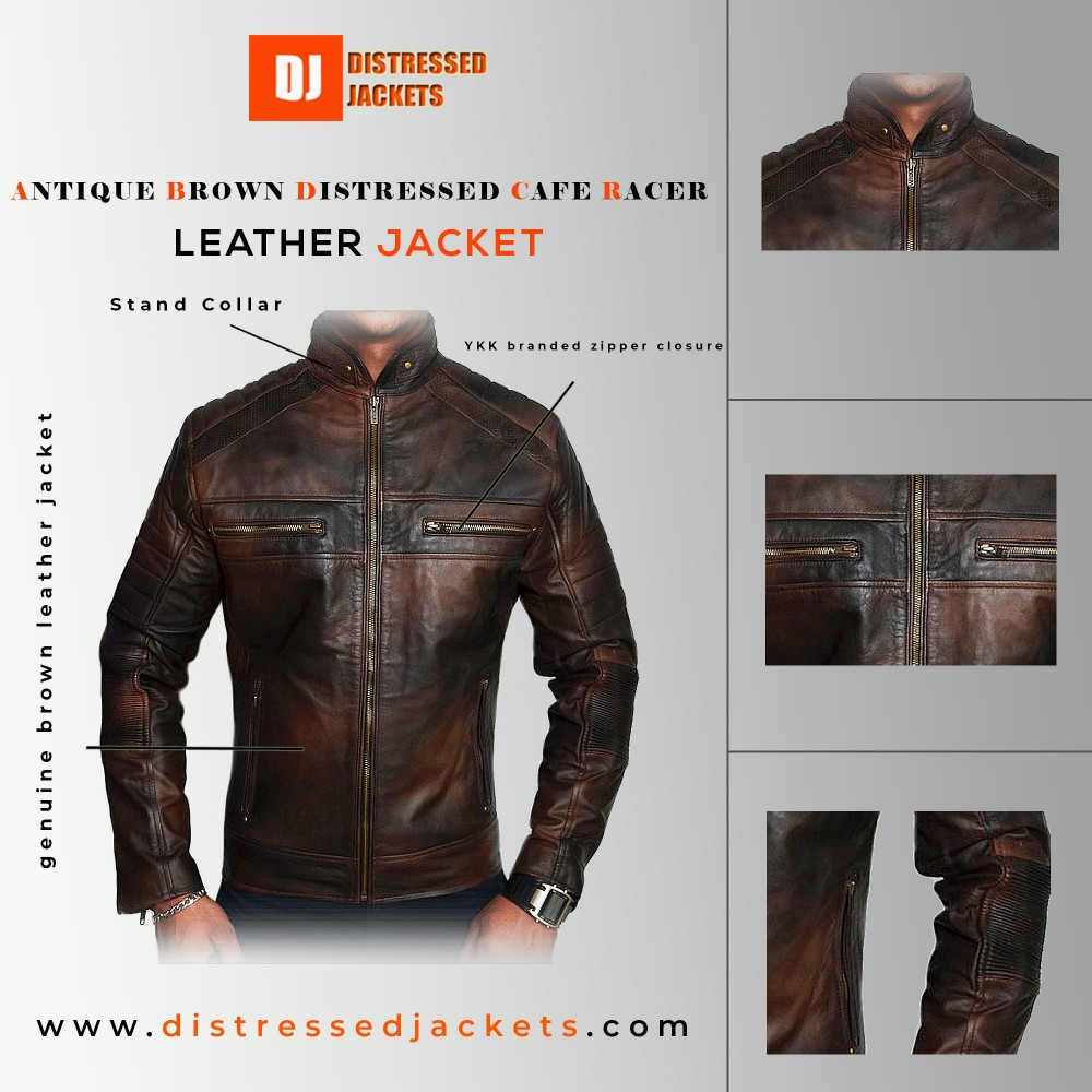 Antique Brown Distressed Cafe Racer Jacket | Distressed Jackets
