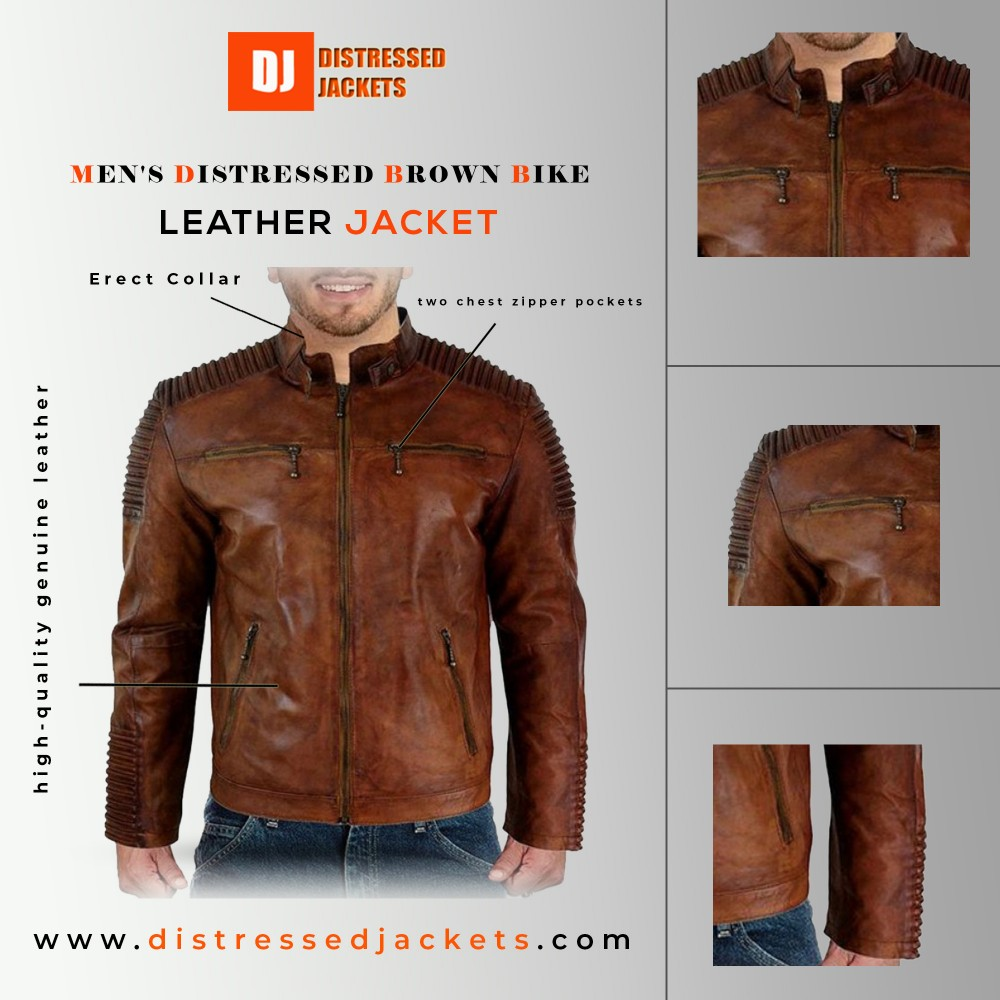Men's Distressed Brown Bike Racer Style Leather Jacket For sale