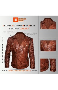 Classic Diamond Mens Biker Dark Brown Jacket | Distressed jackets