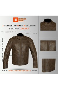 Contraband Mark Wahlberg Dark Brown Distressed Leather Jacket