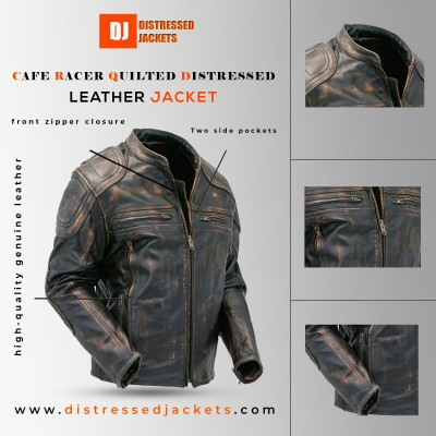 Cafe Racer Quilted Distressed Brown | Distressed Jackets