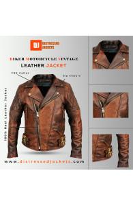Biker Motorcycle Vintage Brown jacket | Distressed Jackets