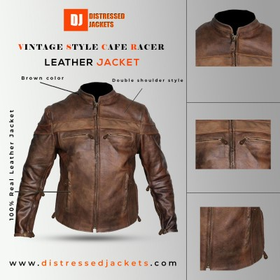 Vintage Style Cafe Racer Brown Distressed Jacket | Distressed Jackets