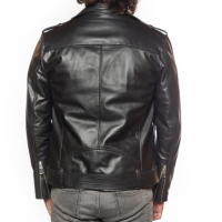 Black Men's Genuine Leather Biker Jacket