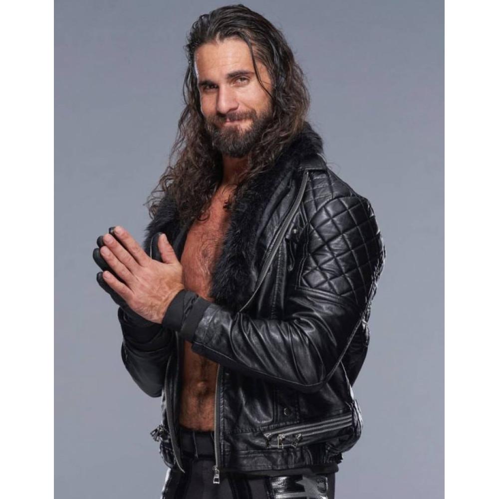 WWE Seth Rollins Black Leather Jacket For Sale