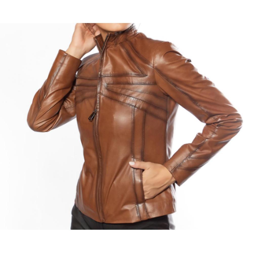 Cinzia Tan Genuine Leather Jacket