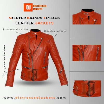 Quilted Brando Vintage Red Motorcycle Leather Jacket   Red Jackets