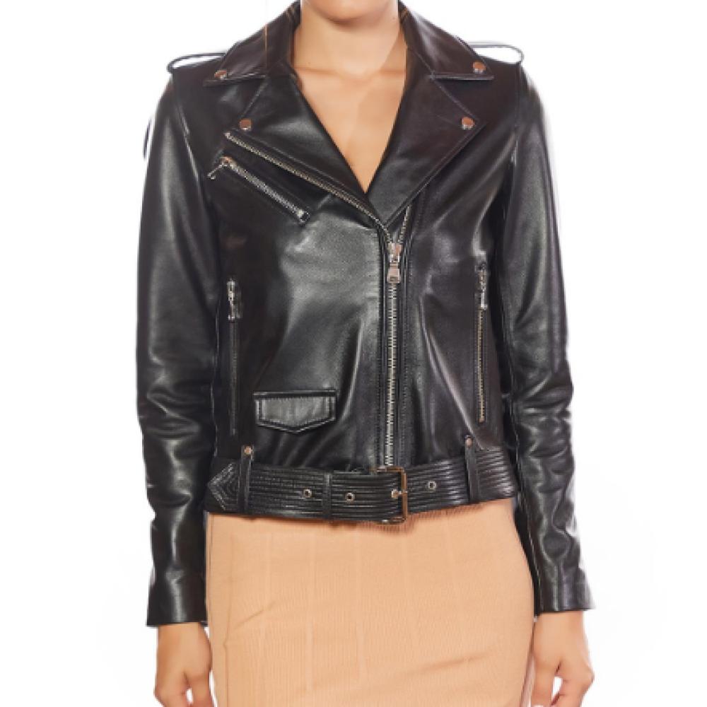 Belted Women Biker Black Leather Jacket