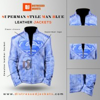 Superman Style Man Distressed Blue Leather Jacket   Movies Jackets