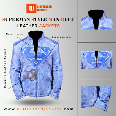 Superman Style Man Distressed Blue Leather Jacket | Movies Jackets