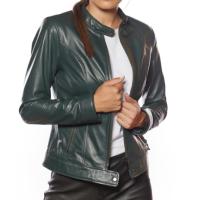 Bella Genuine Leather Woman Jacket Green