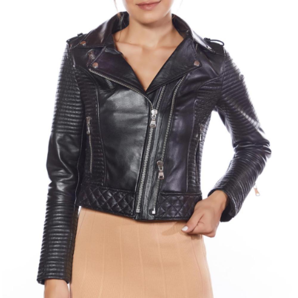 Biker Style Women Leather Jacket Black