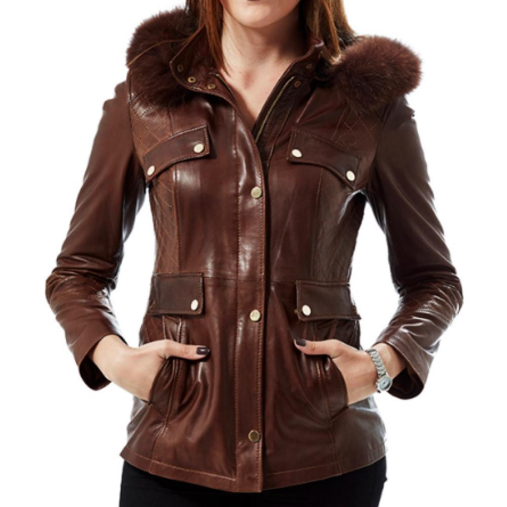 Valeria Classic Brown Leather Blouson