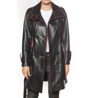 Selena Genuine Leather Coat Black