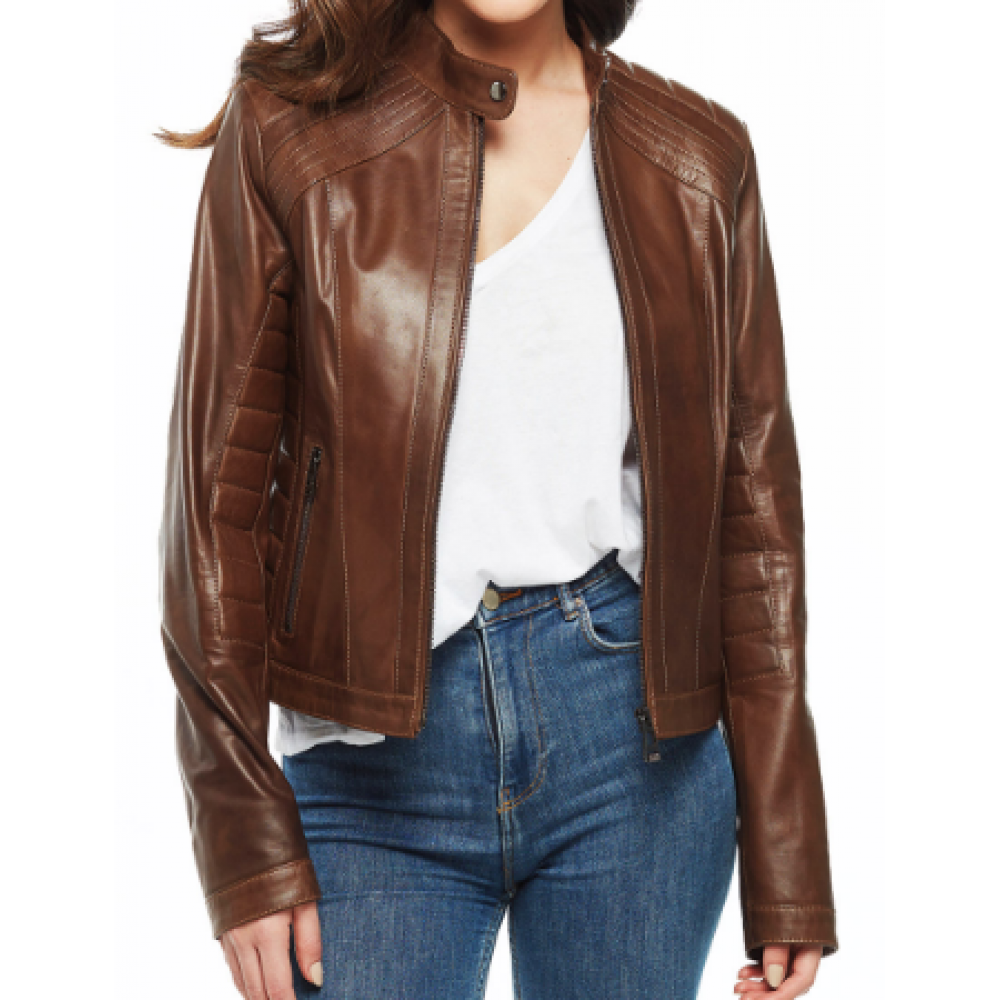 Mia Women's Classic Brown Leather Jacket