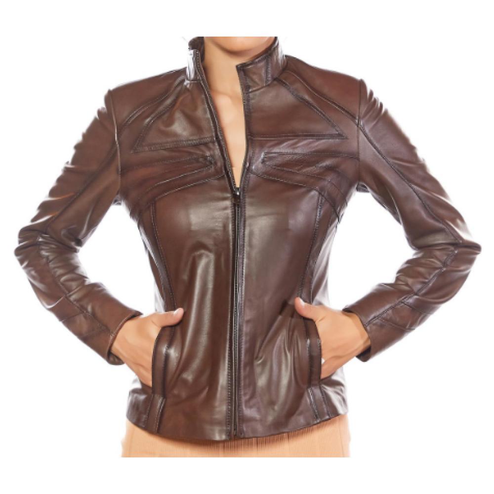 Cinzia Brown Genuine Leather Jacket