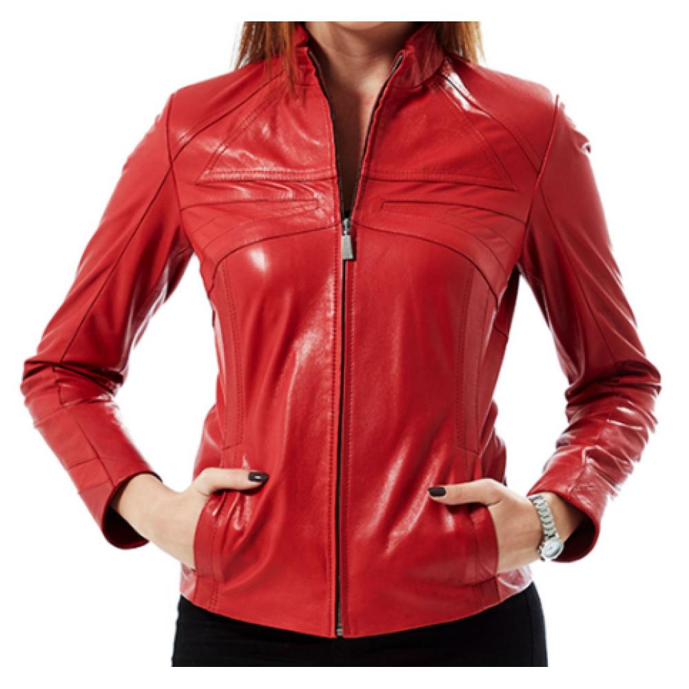 Cinzia Red Genuine Leather Jacket