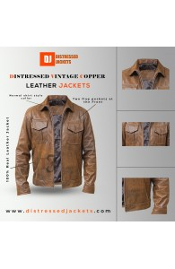 Distressed Vintage Copper Classic Rub-off Brown Leather Jacket