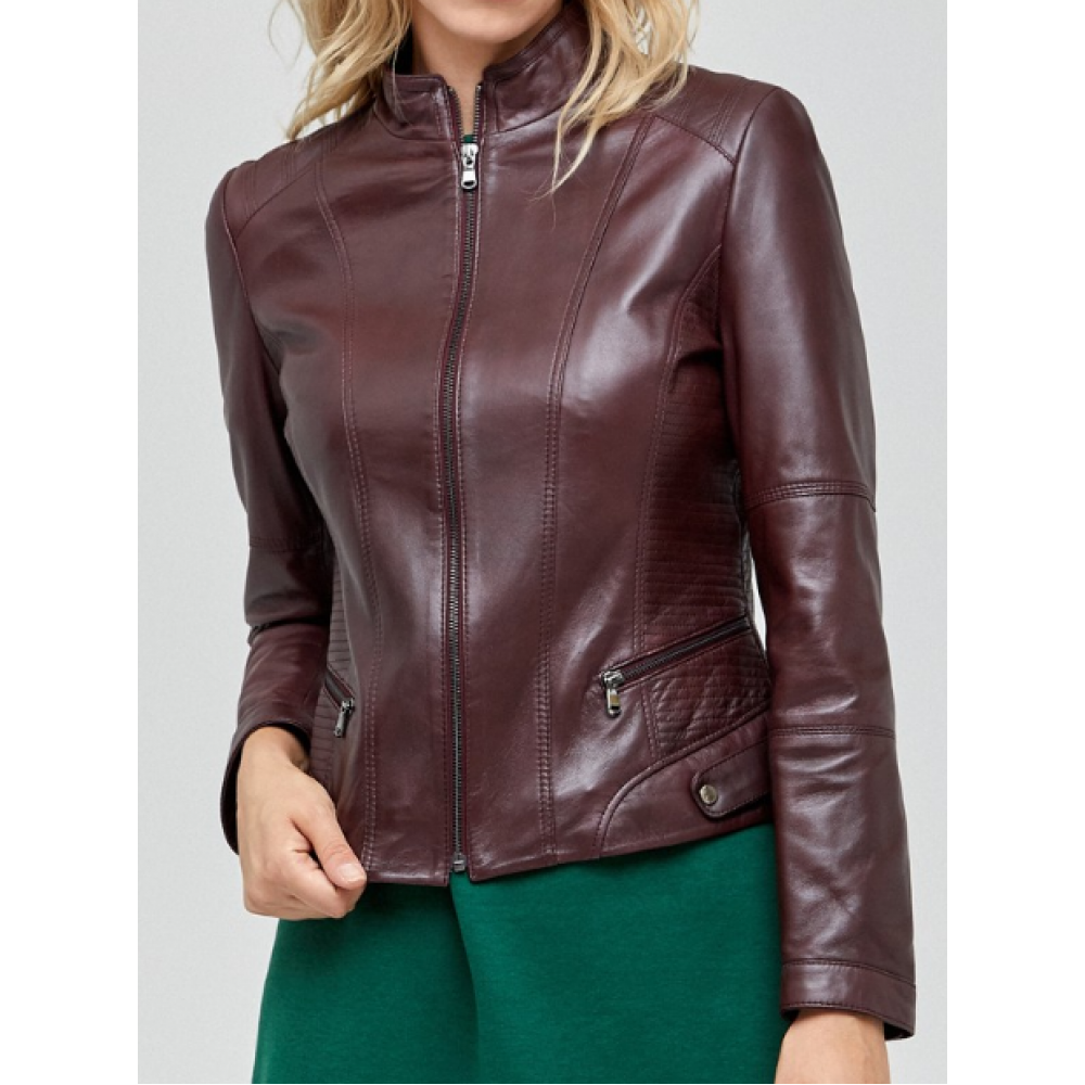 Bordeaux June Women Burgundy Leather Jacket