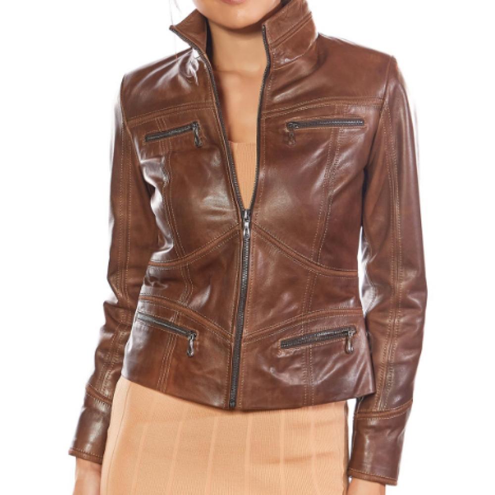 Eva Brown Genuine Leather Sport Jacket