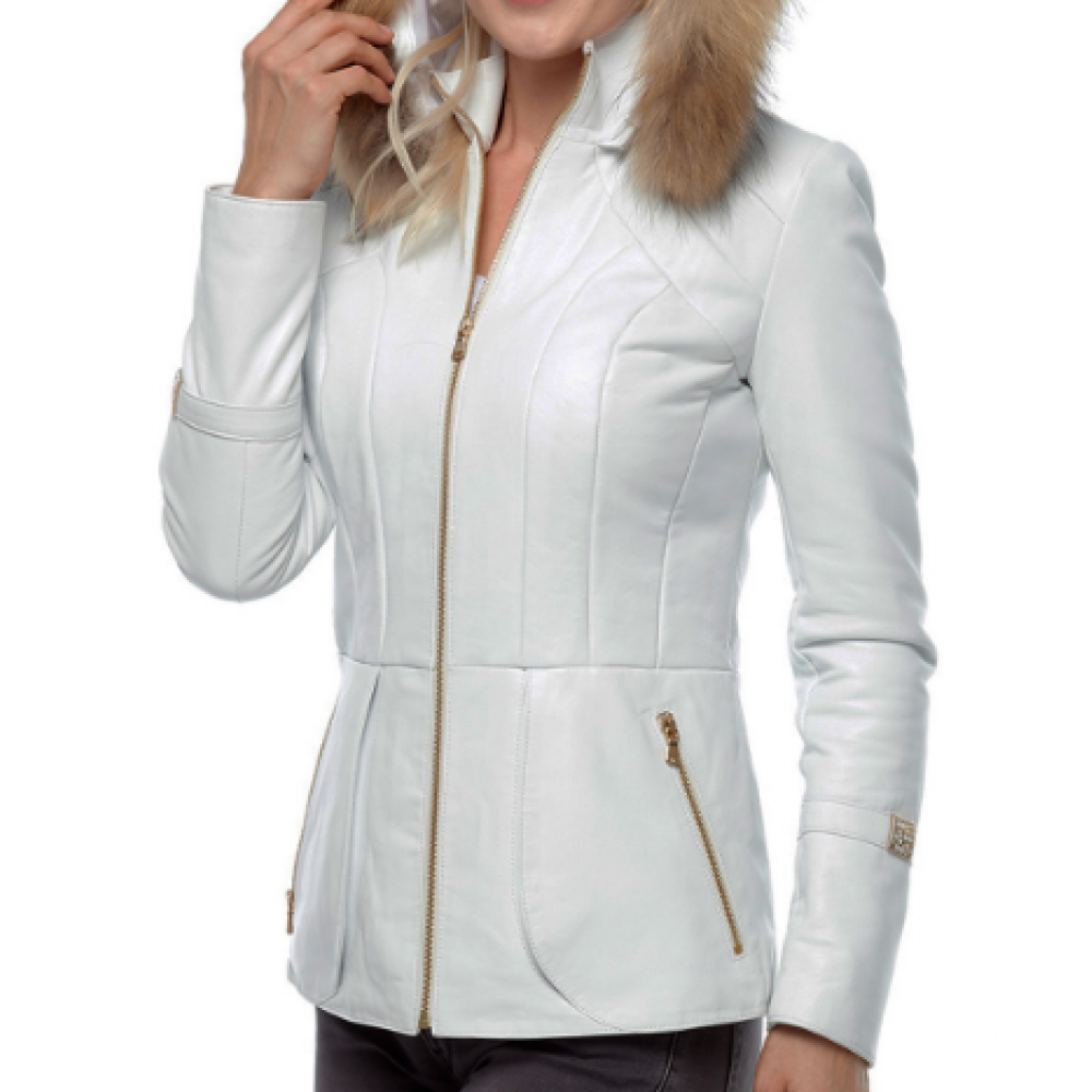 Royal Classic White Hooded Leather Coat