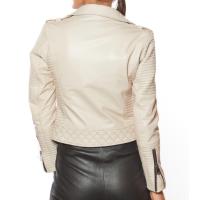 Biker Style Women Leather Jacket Beige