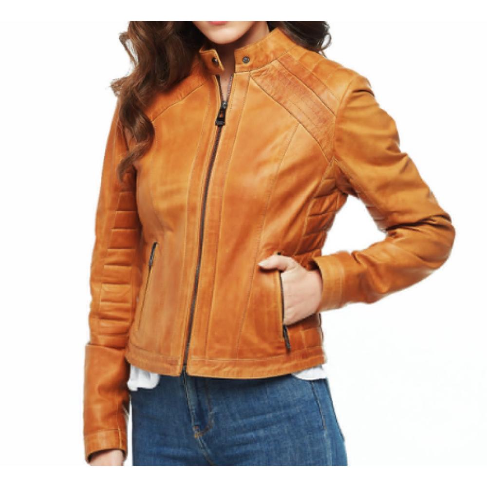 Mia Women's Waxed Tan Leather Jacket