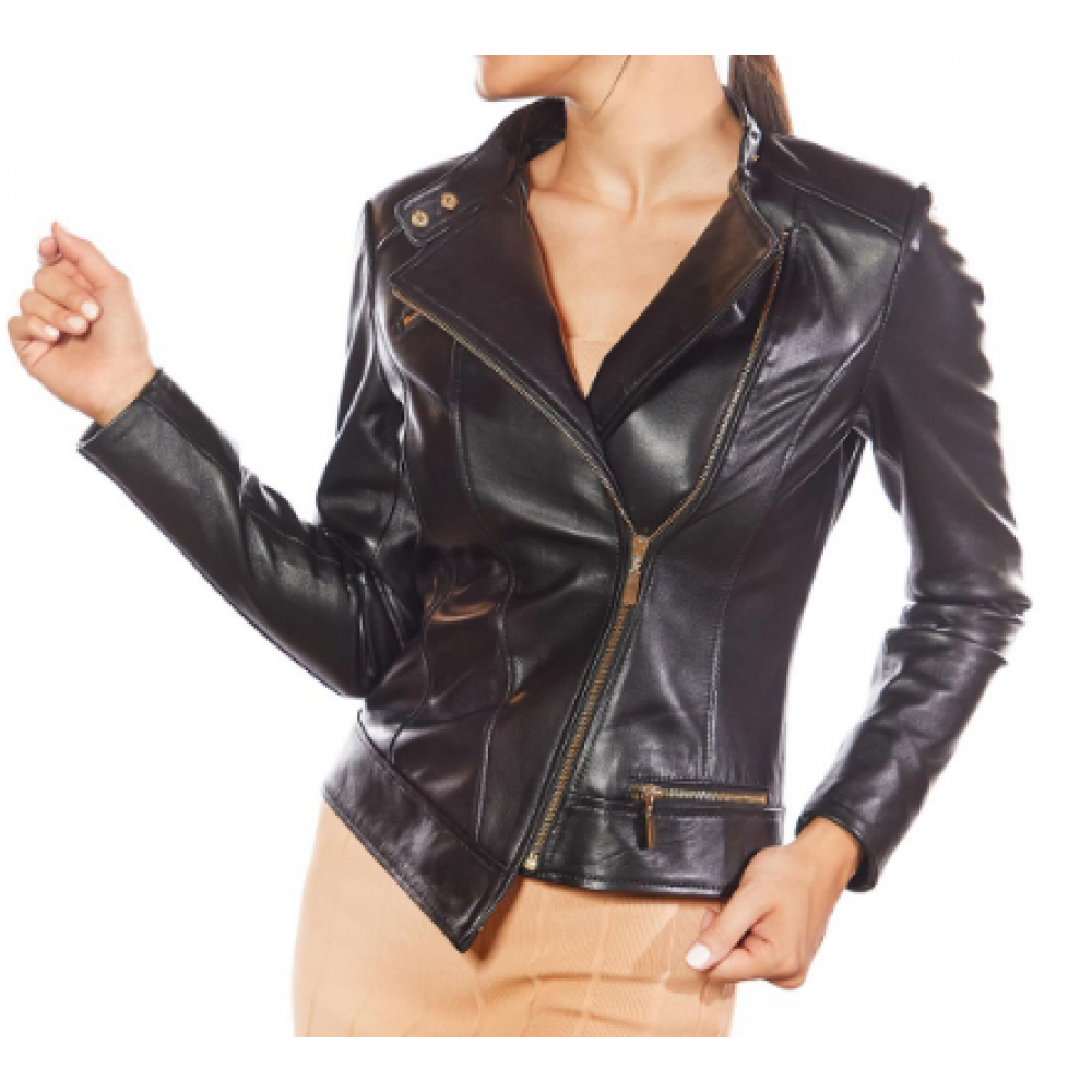 Francesca Black Genuine Women Leather Jacket