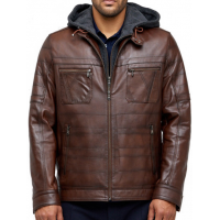 Cavill Brown Men's Hooded Leather Jacket