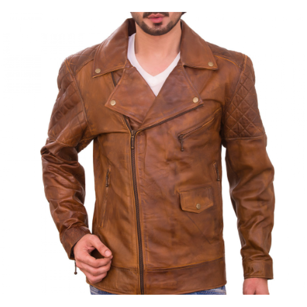 Chace Diamond Racer Waxed Brown Men's Leather Jacket