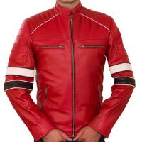 Jesse Red Biker Padded Shoulder Mes's Jacket