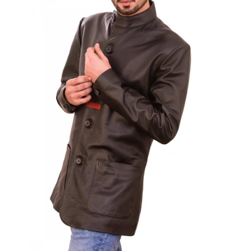Hugh Black Sheepskin Men's Leather Jacket