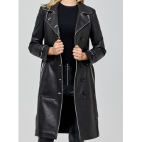 Christina Black Leather Women's Trench Coat