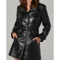 Laina Rose Black Leather Women's Trench Coat