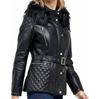 Kaavia Black Leather Peacoat Classic Sheepskin Jacket