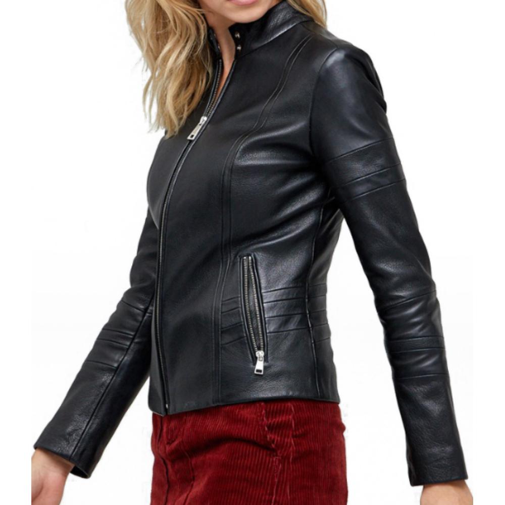 Stanley Black Leather Zipper Sheepskin Jacket