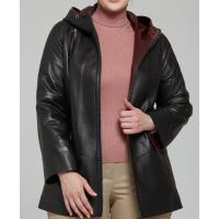 Elizabeth Women's Black Hooded Leather Jacket
