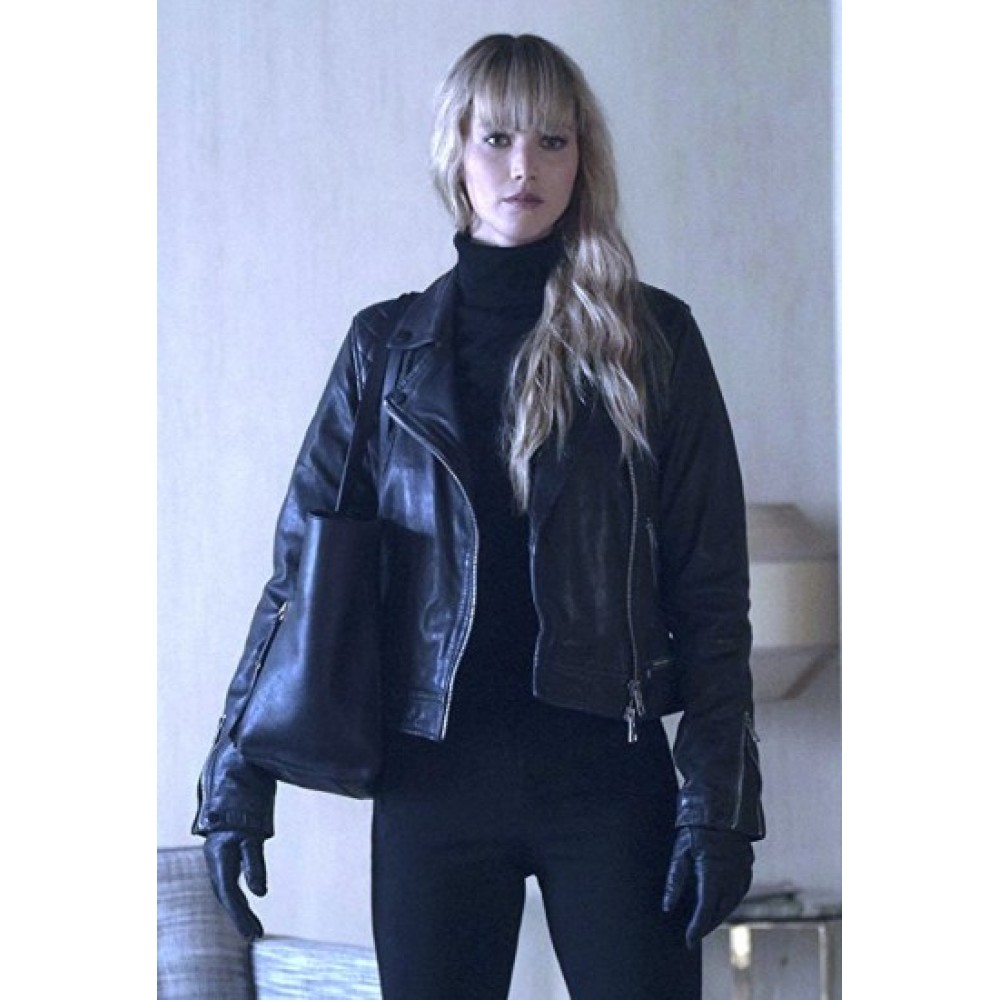 Red Sparrow Jennifer Lawrence Asymmetrical Jacket | Distressed Leather Jackets