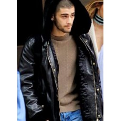 Zayn Malik Leather Jacket with Hood | Men's Hood Leather Jacket